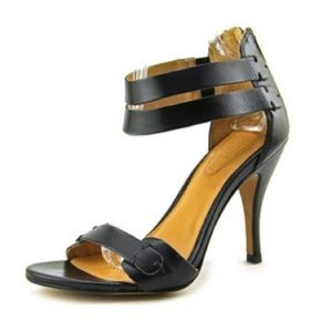 Corso Como Turks Open-Toe Leather Black Heels Sz 9
